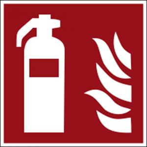 Hinweisschild mit Brandschutzzeichen F001 Feuerlöscher nachleuchtend