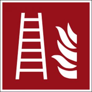 Hinweisschild mit Brandschutzzeichen F003 Feuerleiter nachleuchtend