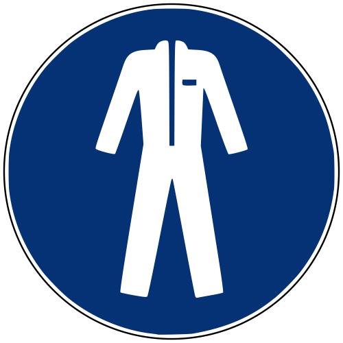 Gebotszeichen M010 Schutzkleidung benutzen