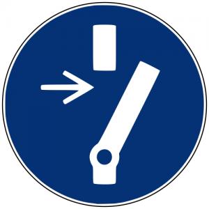 Gebotszeichen M021 Vor Wartung oder Reparatur freischalten