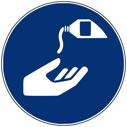Gebotszeichen M022 Hautschutzmittel benutzen