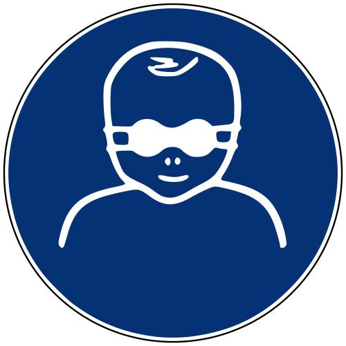 Gebotszeichen M025 Kleinkinder durch weitgehend lichtundurchlässige Augenabschirmung schützen