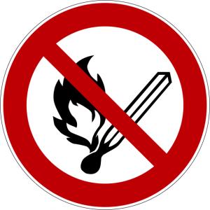 Verbotszeichen P003 offene Flamme, Feuer, offene Zündquelle und Rauchen verboten selbstklebend