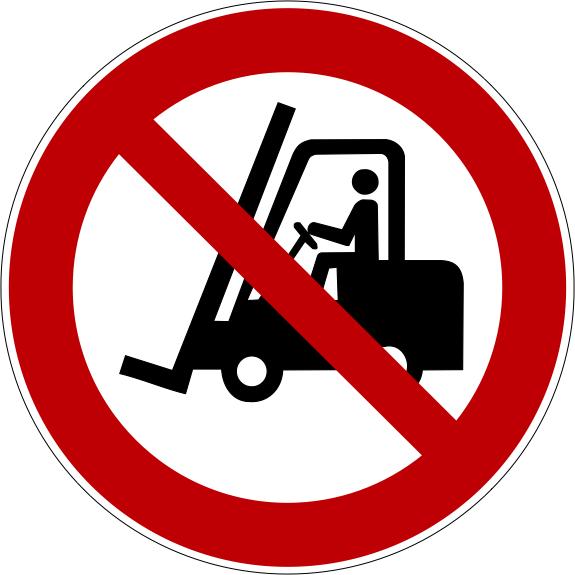 Verbotszeichen P006 Für Flurförderzeuge verboten selbstklebend
