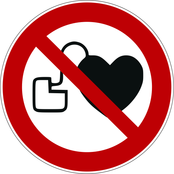 Verbotszeichen P007 Kein Zutritt für Personen mit Herzschrittmachern oder implantierten Defibrillatoren selbstklebend