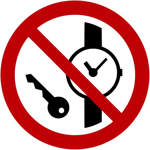 Verbotszeichen P008 Mitführen von Metallteilen oder Uhren verboten selbstklebend