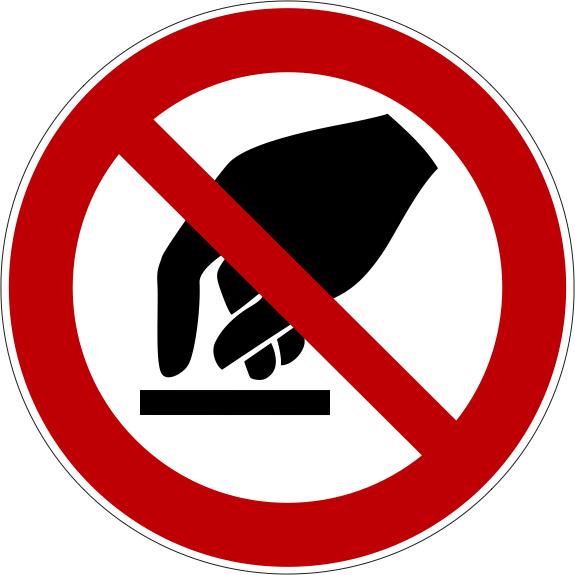 Verbotszeichen P010 Berühren verboten selbstklebend