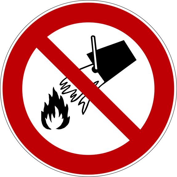 Verbotszeichen P011 Mit Wasser löschen verboten selbstklebend