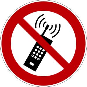 Verbotszeichen P013 Eingeschaltete Mobiltelefone verboten selbstklebend