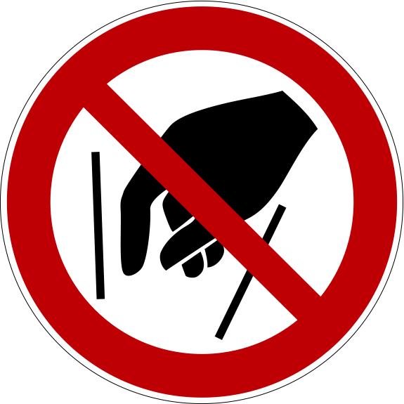 Verbotszeichen P015 Hineinfassen verboten selbstklebend