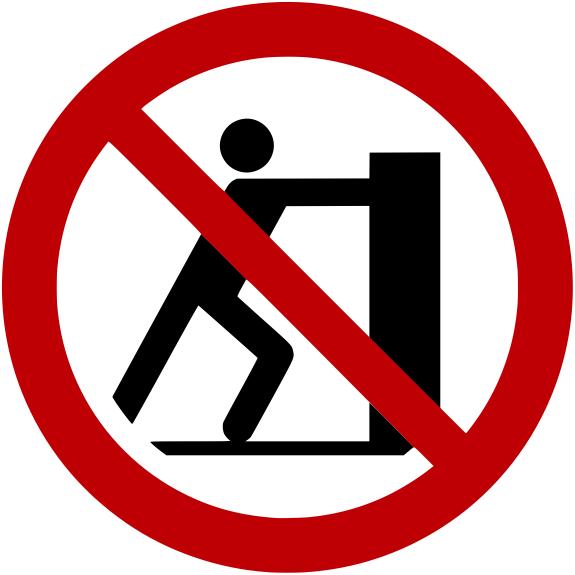 Verbotszeichen P017 Schieben verboten selbstklebend