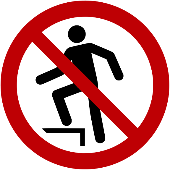 Verbotszeichen P019 Aufsteigen verboten selbstklebend