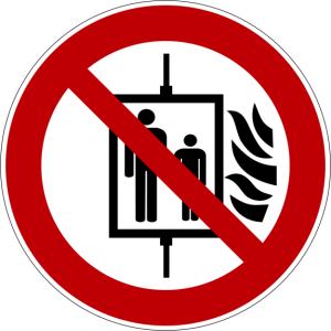 Verbotszeichen P020 Aufzug im Brandfall nicht benutzen selbstklebend