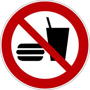Verbotszeichen P022 Essen und Trinken verboten selbstklebend