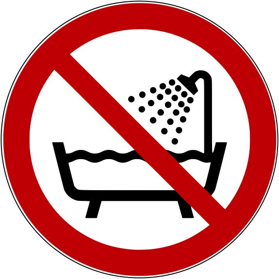 Verbotszeichen P026 Verbot Gerät in der Badewanne, Dusche oder über Wasser gefülltem Becken zu benutzen selbstklebend
