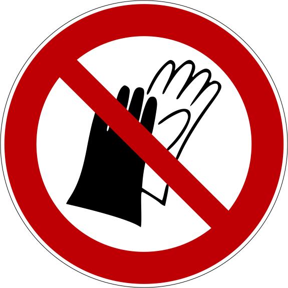 Verbotszeichen P028 Benutzen von Handschuhen verboten selbstklebend