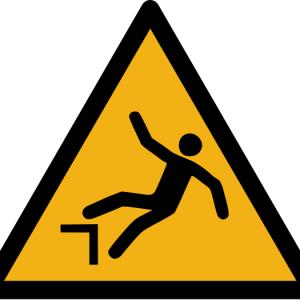 """Warnzeichen W008 """"Warnung vor Absturzgefahr"""" selbstklebend"""