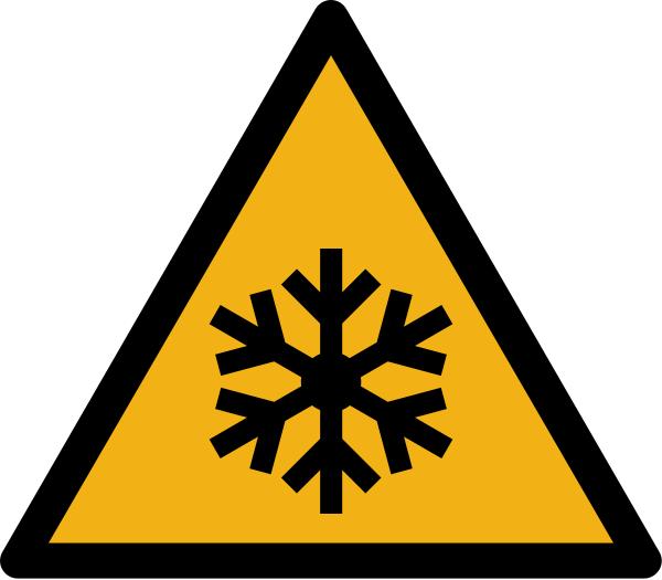 """Warnzeichen W010 """"Warnung vor Warnung vor niedriger Temperatur/Kälte"""" selbstklebend"""