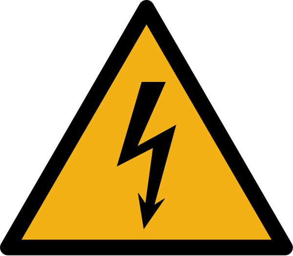 """Warnzeichen W012 """"Warnung vor elektrischer Spannung"""" selbstklebend"""