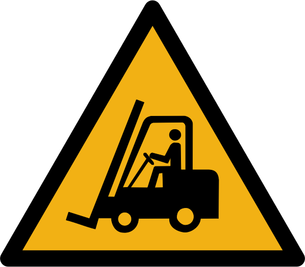 """Warnzeichen W014 """"Warnung vor vor Flurförderzeugen"""" selbstklebend"""