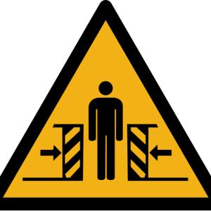 """Warnzeichen W019 """"Warnung vor Quetschgefahr"""" selbstklebend"""