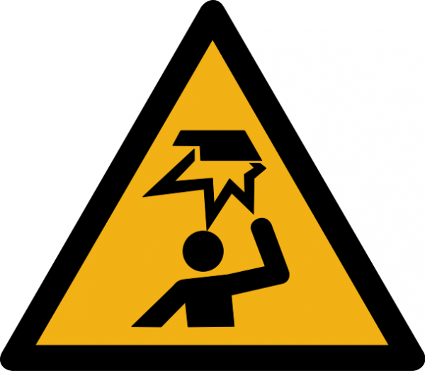 """Warnzeichen W020 """"Warnung vor Hindernissen im Kopfbereich"""" selbstklebend"""