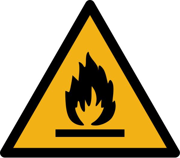 """Warnzeichen W021 """"Warnung vor feuergefährlichen Stoffen"""" selbstklebend"""