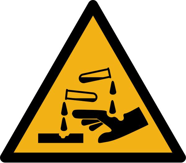 """Warnzeichen W023 """"Warnung vor ätzenden Stoffen"""" selbstklebend"""