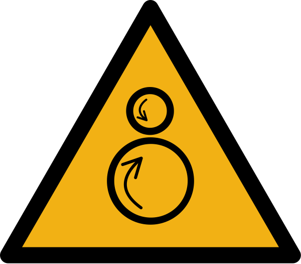 """Warnzeichen W025 """"Warnung vor gegenläufigen Rollen"""" selbstklebend"""