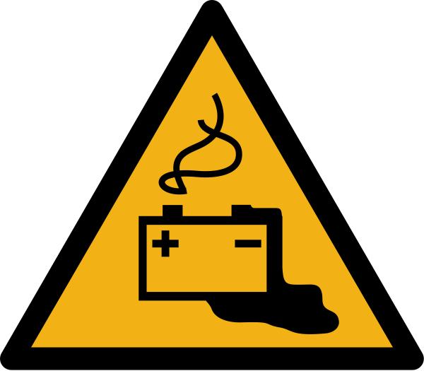 """Warnzeichen W026 """"Warnung vor Gefahren durch Aufladen von Batterien"""" selbstklebend"""