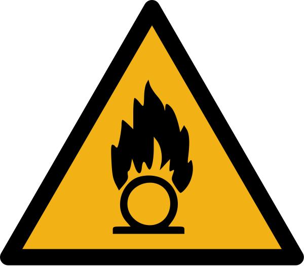 """Warnzeichen W028 """"Warnung vor brandfördernden Stoffen"""" selbstklebend"""
